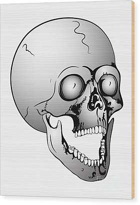 Screaming Skull Wood Print by Michal Boubin