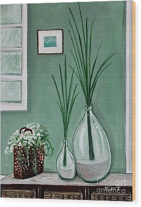 Wood Print featuring the painting Sea Grass by Elizabeth Robinette Tyndall