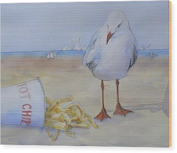 Seagull And Hot Chips Wood Print by Tony Northover