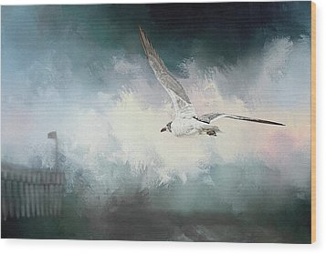 Seagull In Flight Wood Print by Sennie Pierson