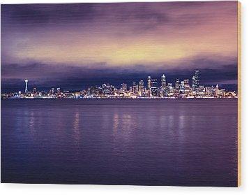 Seattle From Alki Wood Print by Tanya Harrison