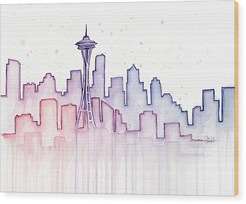 Seattle Skyline Watercolor Wood Print by Olga Shvartsur
