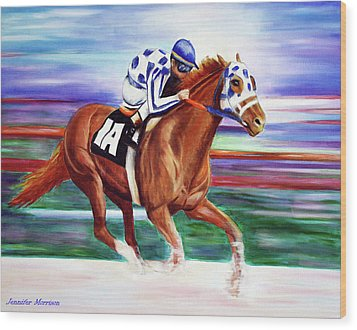 Secretariat Painting Blurred Speed Wood Print by Jennifer Godshalk