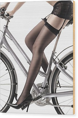 Sexy Woman Riding A Bike Wood Print by Oleksiy Maksymenko