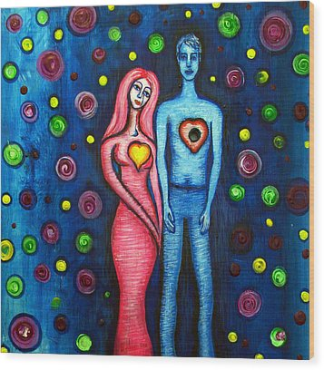 She Grieves The Hole In His Heart Wood Print by Brenda Higginson