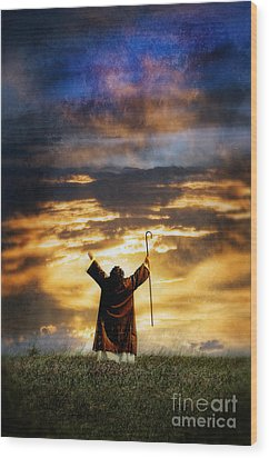 Shepherd Arms Up In Praise Wood Print by Jill Battaglia