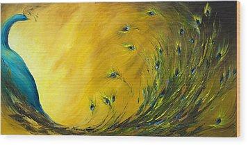 Show-off 2 Horizontal Peacock Wood Print