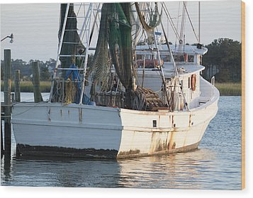 Shrimp Boat Wood Print by Dustin K Ryan