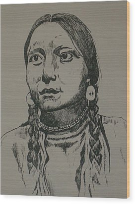 Wood Print featuring the drawing Shy Anne by Leslie Manley