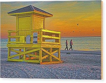 Siesta Key Sunset Wood Print by Dennis Cox WorldViews