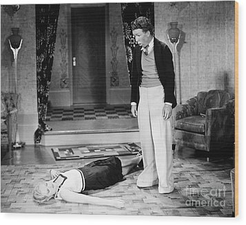 Silent Film Still: Fainting Wood Print by Granger