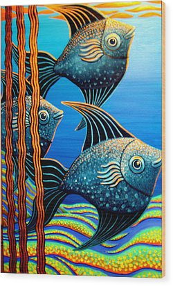 Sillyfish 3 Wood Print by Barbara Stirrup