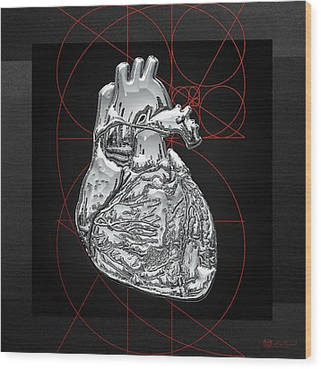 Silver Human Heart On Black Canvas Wood Print by Serge Averbukh