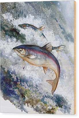 Silver Salmon Wood Print by Peggy Wilson