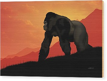 Wood Print featuring the digital art Silverback Gorilla by John Wills