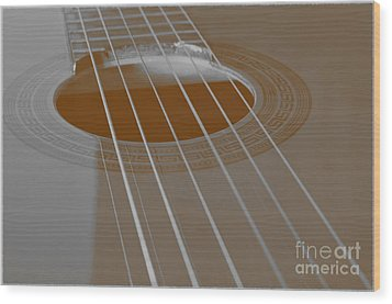 Six Guitar Strings Wood Print by Angelo DeVal