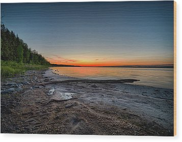 Wood Print featuring the photograph Skeleton Lake Beach At Sunset by Darcy Michaelchuk