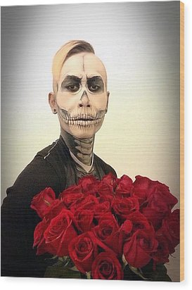 Skull Tux And Roses Wood Print by Kent Chua