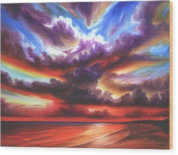 Wood Print featuring the painting Skyburst by James Christopher Hill