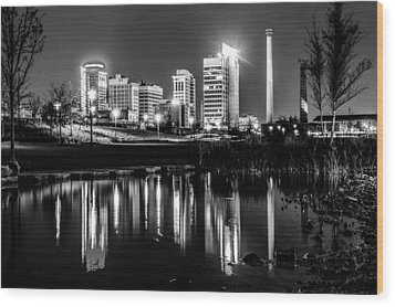 Skyline Of Birmingham Alabama From Railroad Park Wood Print by Alex Grichenko