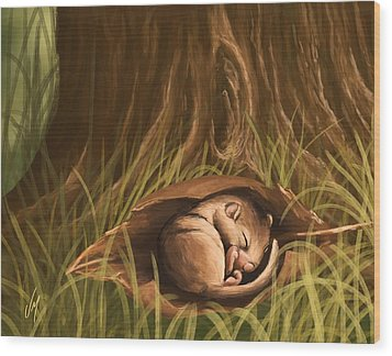 Wood Print featuring the painting Sleeping  by Veronica Minozzi