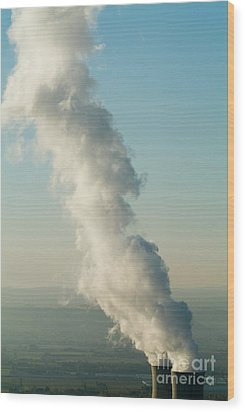 Smoke Emitting From Cooling Towers Of Tricastin Nuclear Power Plant Wood Print by Sami Sarkis
