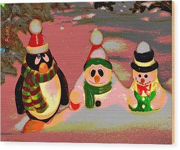 Snow Buddies Wood Print by Robert Joseph