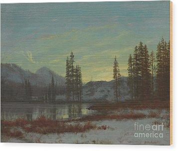 Snow In The Rockies Wood Print by Albert Bierstadt