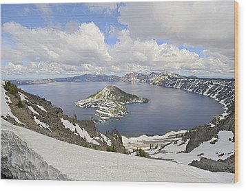 Snow On Crater Lake Hdr Wood Print by Harold Piskiel