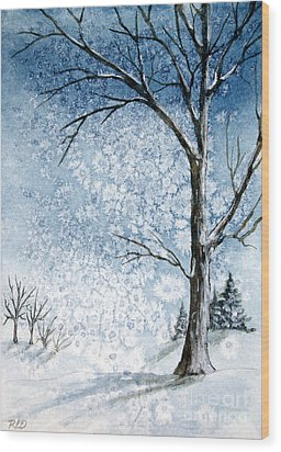 Snowy Night Wood Print by Rebecca Davis