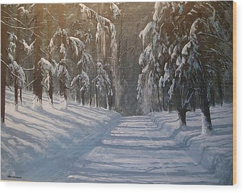 Wood Print featuring the painting Snowy Road by Ken Ahlering