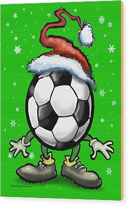 Soccer Christmas Wood Print by Kevin Middleton