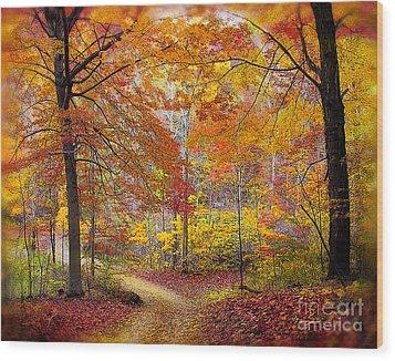Soft Autumn Rain Wood Print