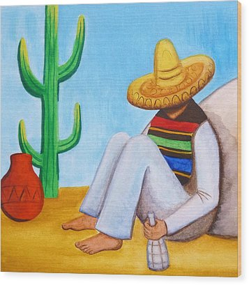 Sombrero Wood Print by Lucy Deane