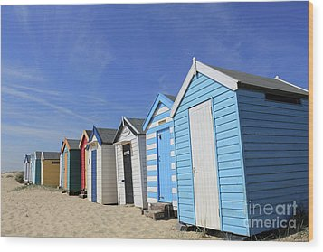 Southwold Beach Huts Wood Print