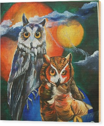 Space Owls Wood Print by Andrea  Darlington