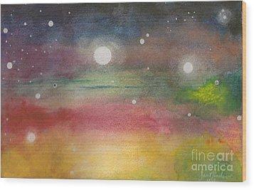 Space Rainbow Wood Print by Janet Hinshaw
