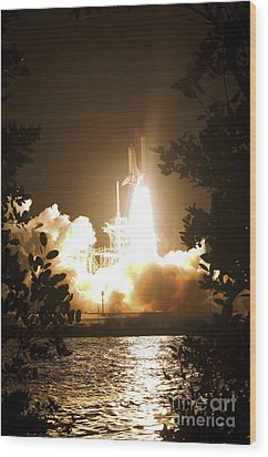 Space Shuttle Endeavour Liftoff Wood Print by Stocktrek Images