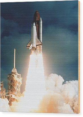 Space Shuttle Launch Wood Print