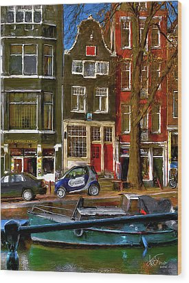Wood Print featuring the photograph Spiegelgracht 6. Amsterdam by Juan Carlos Ferro Duque