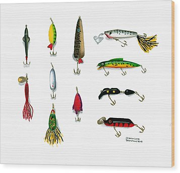 Sport Fishing Spinners Spoons And Plugs Wood Print by Sharon Blanchard