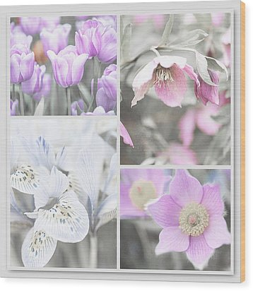 Wood Print featuring the photograph Spring Flower Collage. Shabby Chic Collection by Jenny Rainbow