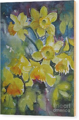 Wood Print featuring the painting Spring Flowers by Elena Oleniuc