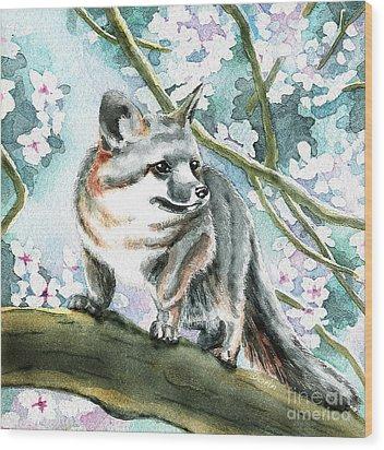 Spring Fox Wood Print by Antony Galbraith