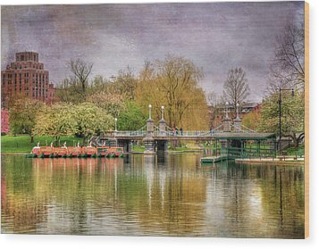 Wood Print featuring the photograph Spring In The Boston Public Garden by Joann Vitali