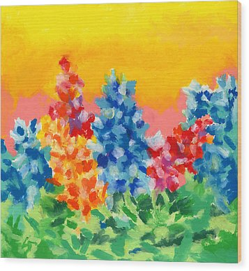 Wood Print featuring the painting Spring Wildflowers by Stephen Anderson