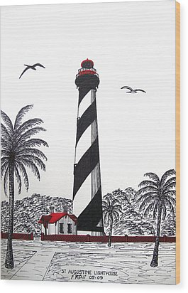 St Augustine Lighthouse Christmas Card Wood Print by Frederic Kohli