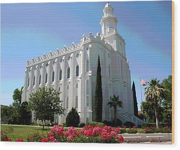 St George Utah Temple Wood Print