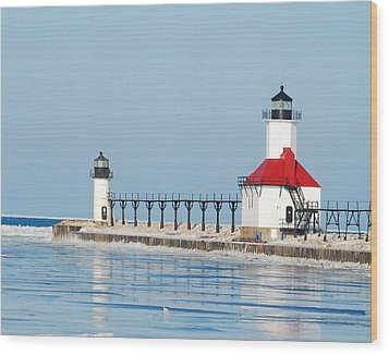 St Joseph North Pier Lights Wood Print by Michael Peychich