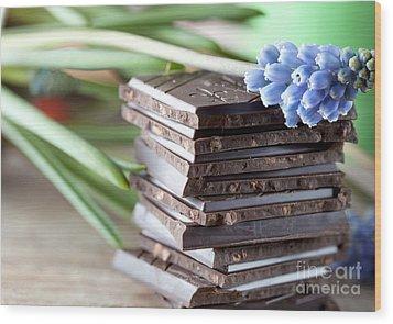 Stack Of Chocolate Wood Print by Nailia Schwarz